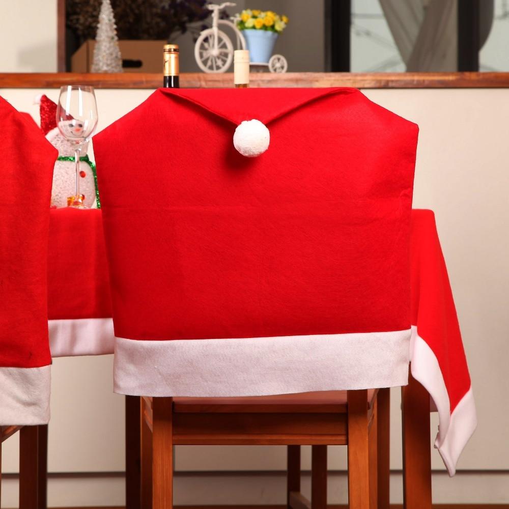 Christmas chair back covers - 1pc Christmas Santa Clause Chair Cover Red Hat Chair Back Cover Christmas Kitchen Dining Table Decor