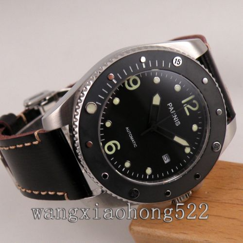 лучшая цена Parnis watch black dial sapphire glass Automatic mechanical mens Watch miyota Movement PN549