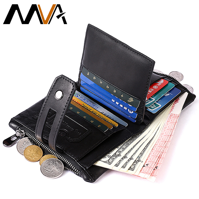 MVA Genuine Leather Men Wallet with Coin Pocket Small Wallet Portomonee Male Clutch Clamp For Money Coin Purse Card Holder gzcz genuine leather men wallet fashion coin purse card holder small wallet men portomonee male clutch zipper clamp for money