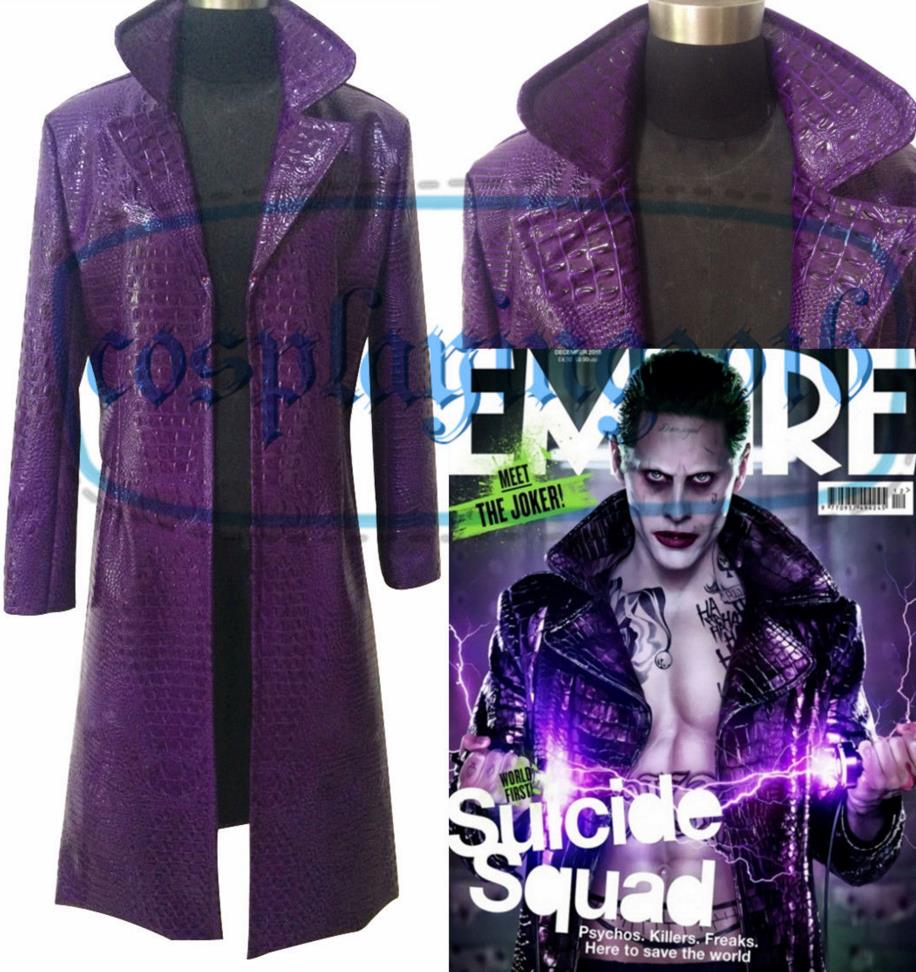 HOT Men Costume Cosplay Suicide Squad Joker Purple Jacket Trench Coat Outfit