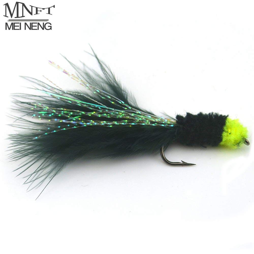 MNFT 6PCS 6# Black Egg Sucking Leech Fly Yellow head Marabou with Flashabou Trout Fishing Streamer mnft 10pcs 8 black woolly bugger black color with flashabou crystal decorated tail fly fishing lure streamer bead golden head