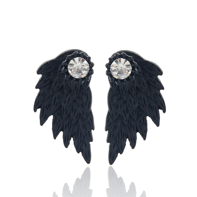 Vintage Gothic Angel Wing Alloy Stud Earrings Cool Black Antique Silver Color Feather Earrings for Women Men Fashion Jewelry 4