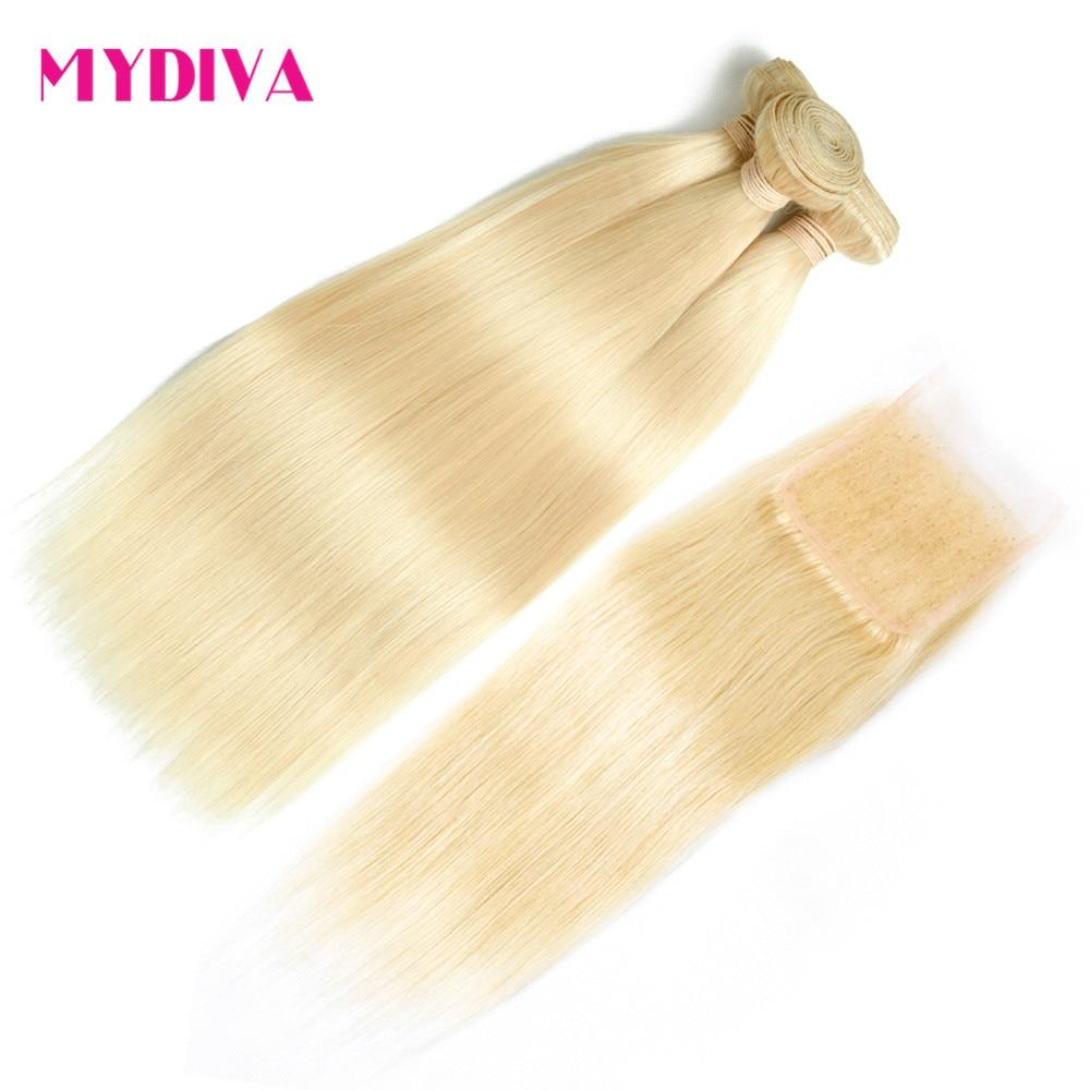613 Blonde Bundles With Closure Straight Peruvian Human Hair 3 Bundles With Closure Remy Hair Extension