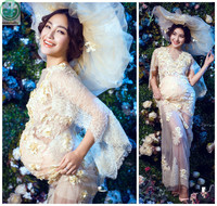 Lace Sexy Maternity Dresses Photography Props Flower Maternity Dresses Evening For Photo Shoot Pregnant Clothes Long Dress BB140