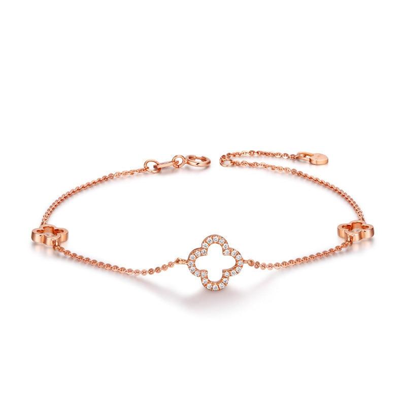 Women Fashion Jewelry Clover Shape Bracelet Lovely Gift for Lover Solid 925 Sterling Silver Chain Link Bracelet for Ladies vintage solid color link chain bracelet for women