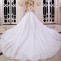 Royal Train Vestido De Noiva Ivory Off Shoulder Sweetheart Ball Gown Lace Up Wedding Dresses From
