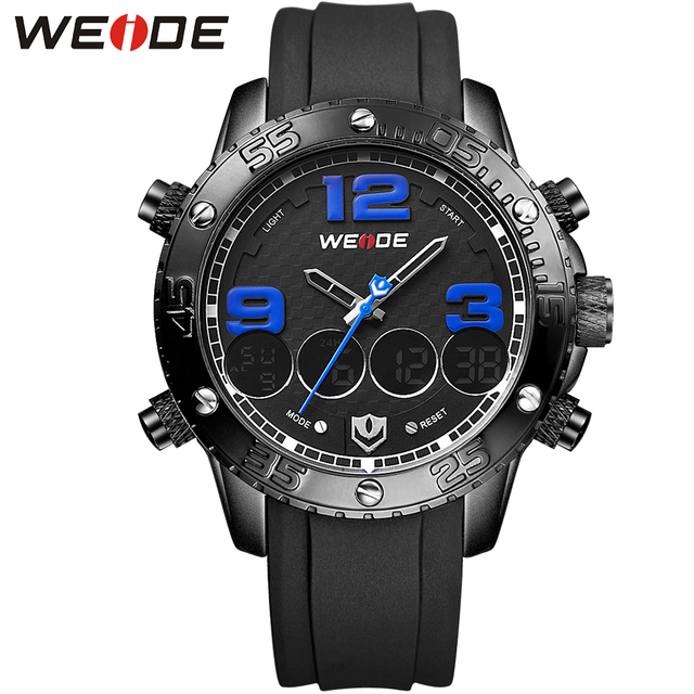 WEIDE Brand High Quality Men's Watch Round Analog-Digital Complete Calendar Display Fashion Wrist Watch Relojes Free Shipping