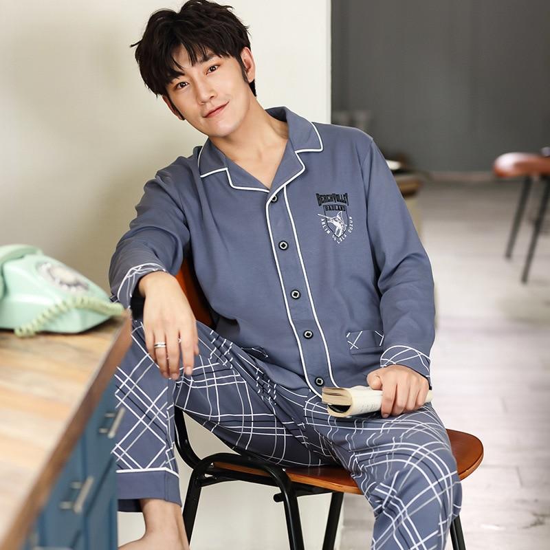 Autumn Cotton Pajamas For Men Long-sleeved Trousers Cardigan Pajamas Men's Simple Leisure Home Dress Suit Big Size L To XXXL
