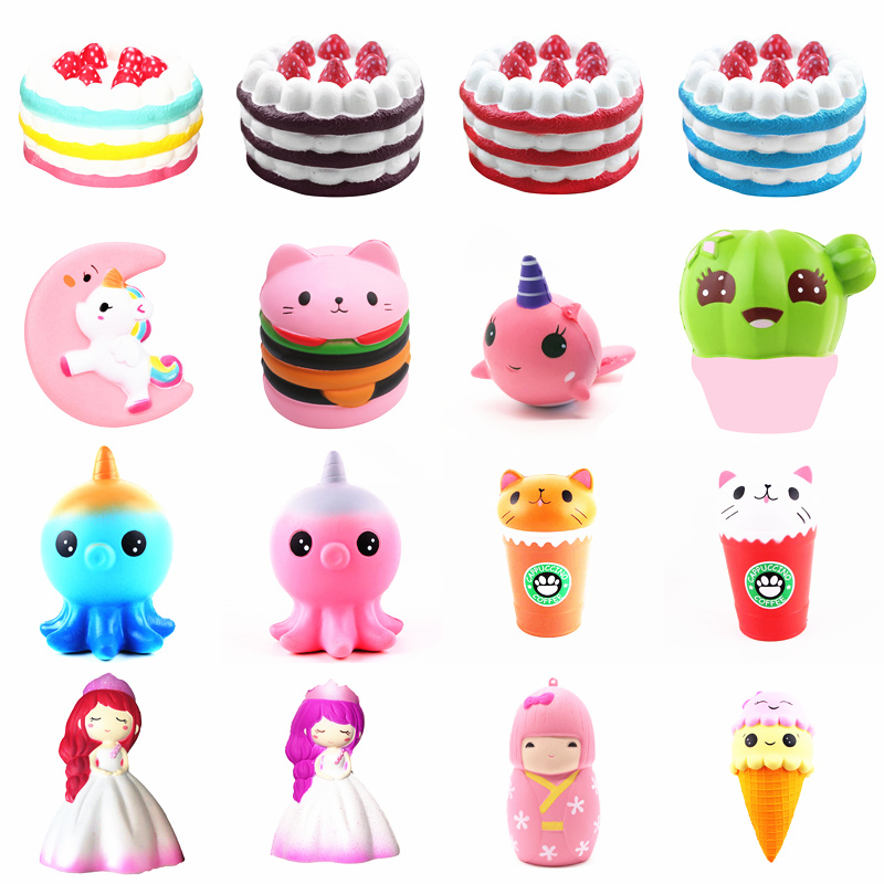 Squishy Slow Rising Squeeze Toy Narwhal Rose Deer Cake Star Deer Teeth Glasses Bear Watermelon Ice Cream Octopus Cotton