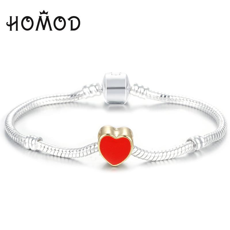40bbb4672 HOMOD High Quality Silver plated Pandora Bracelet love Heart European Style  Snake Chain Fit DIY Charm