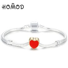 HOMOD High Quality Silver plated Brand Bracelet love Heart European Style Snake Chain Fit DIY Charm Bracelets Jewelry