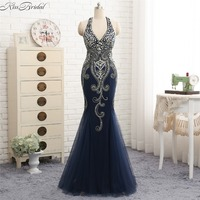 Sexy Backless Evening Dresses Dài Mermaid Beaded Stones Halter Prom Gown Tay Tulle Hải Quân Xanh Evening Gown