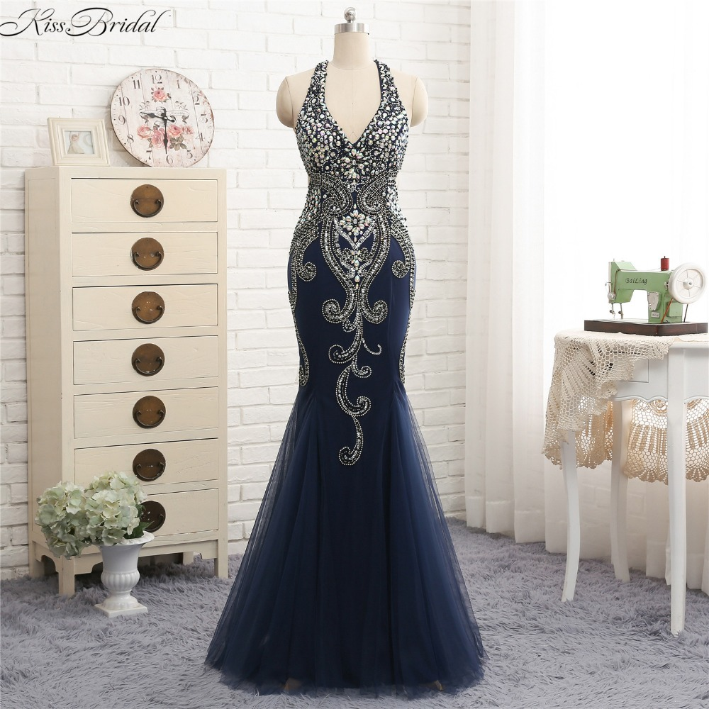 Sexy Backless   Evening     Dresses   Long Mermaid Beaded Stones Halter Prom Gown Sleeveless Tulle Navy Blue   Evening   Gown