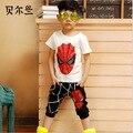 Spiderman Meninos SportsWear Agasalho Roupa Do Miúdo dos desenhos animados Terno Do Bebê Verão crianças meninos roupas conjunto de roupas
