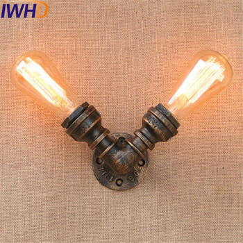 IWHD Loft Style Industrial Vintage Wall Lamp Edison Wall Sconce 2 Lights Iron Water Pipe Wall Light Fixtures Indoor Lighting