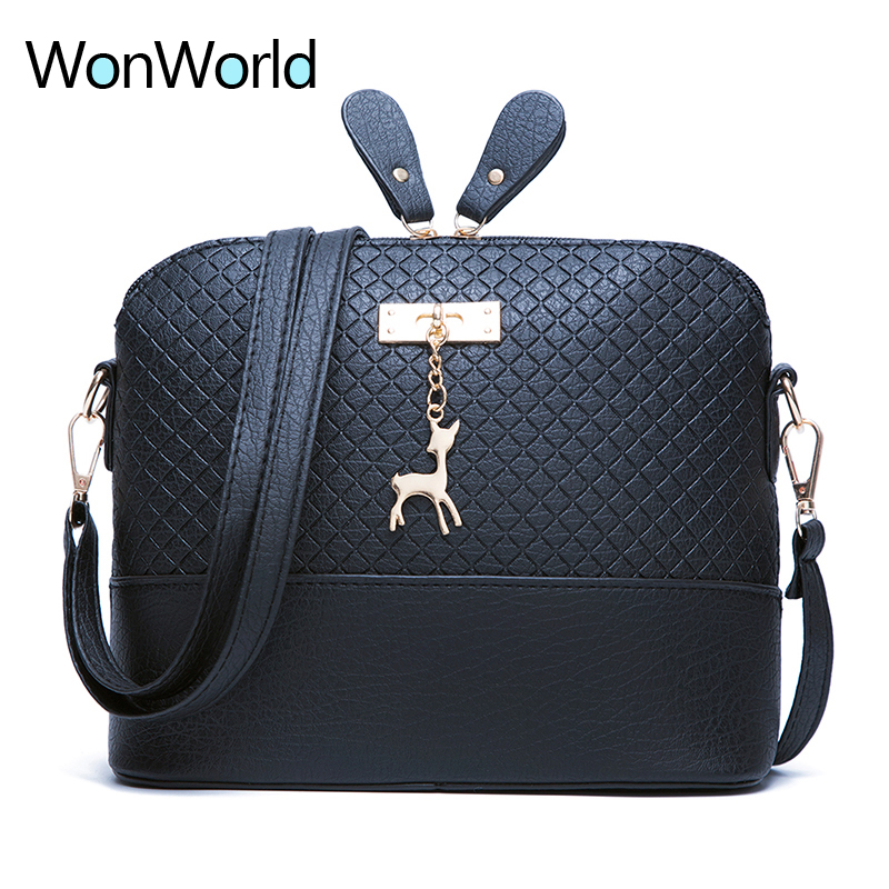 Wonworld high quality soft face female all-purpose shoulder bag Deer Toy PU leather Quilted shell women handbag Free shipping