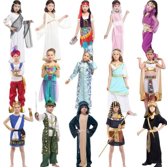 f6ce1484e3a7 Arabia Greece Princess prince Cosplays Halloween Goddess Athena Costumes  Kids Carnival Masquerade party dress Aladdin clothing
