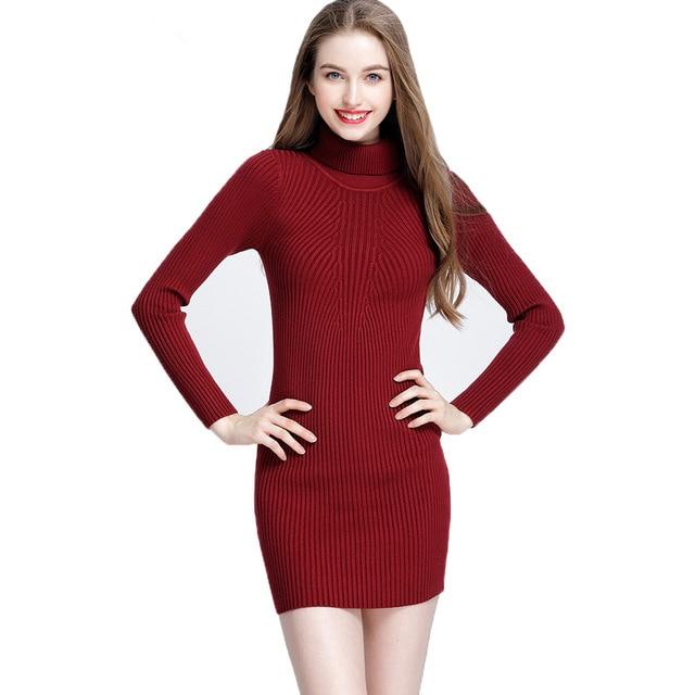 col roul laine automne hiver robes de femmes robe sexy noir gaine slim moulante robe manches. Black Bedroom Furniture Sets. Home Design Ideas
