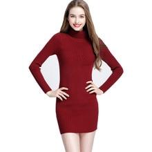 c2eee33b1 Vestidos de gola alta De Lã das Mulheres Outono Inverno Robe Preto Sexy  Bainha Magro Bodycon Vestido Pacote de Hip Vestidos de M..