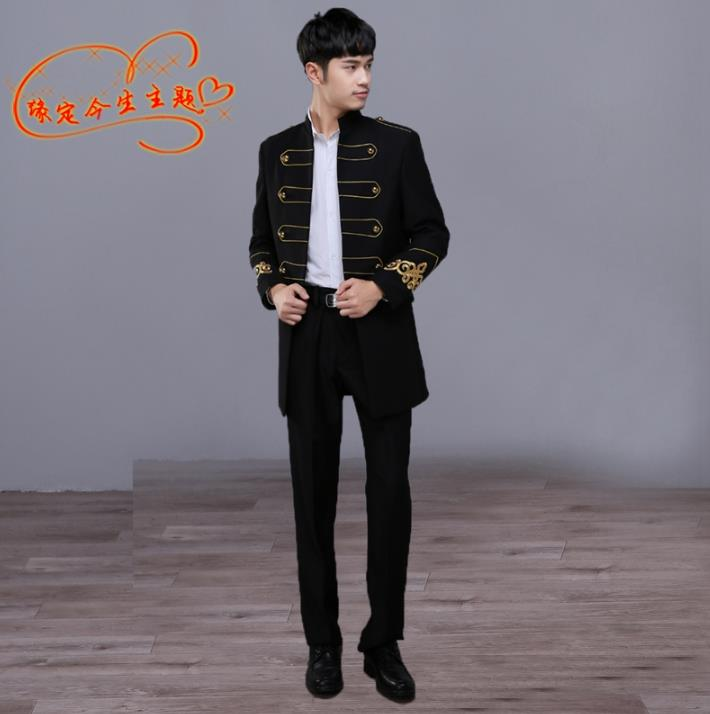 Black Stand Collar Blazer Men Formal Dress Latest Coat Pant Designs