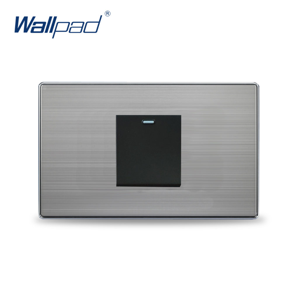 2019 Hot Sale 1 Gang Reset Momentary Contact Wallpad Luxury Light Switch Push Button Wall Switches Satin Metal Panel