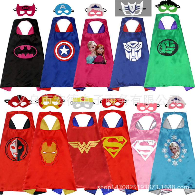 Manufacturers supply children's cartoon hero cloak custom wholesale new double Halloween superman cloak(China)