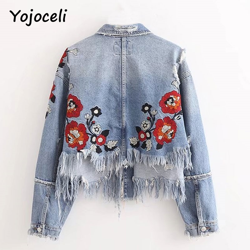 Yojoceli Embroidery ripped tassel denim jacket coat Vintage short utumn winter basic jea ...