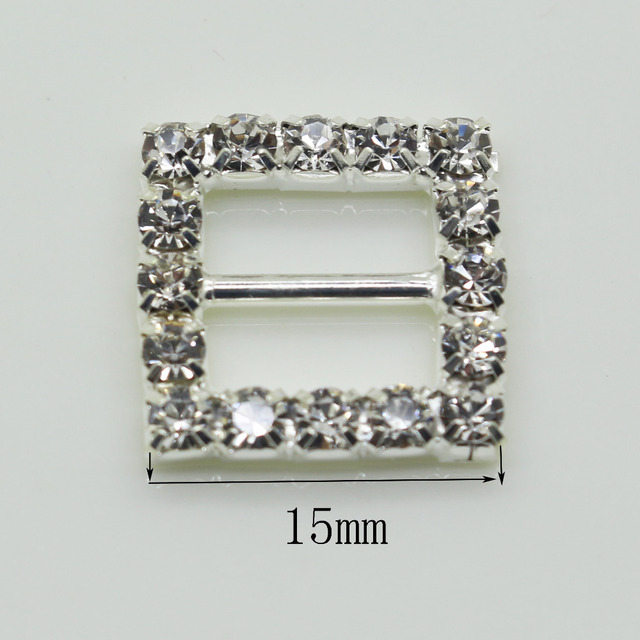 Shiny Square 10pc 15MM silver Rhinestone Buckle Diamante Ribbon Slider  Wedding Invitation card Decoration buckles metal crystal e0268b9798d6
