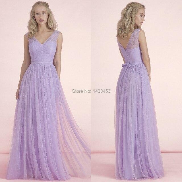 Vestido De Madrinha Kelsey Rose 2017 New Pastel Lavender Tulle V Neck Long Bridesmaid Dress Pleating