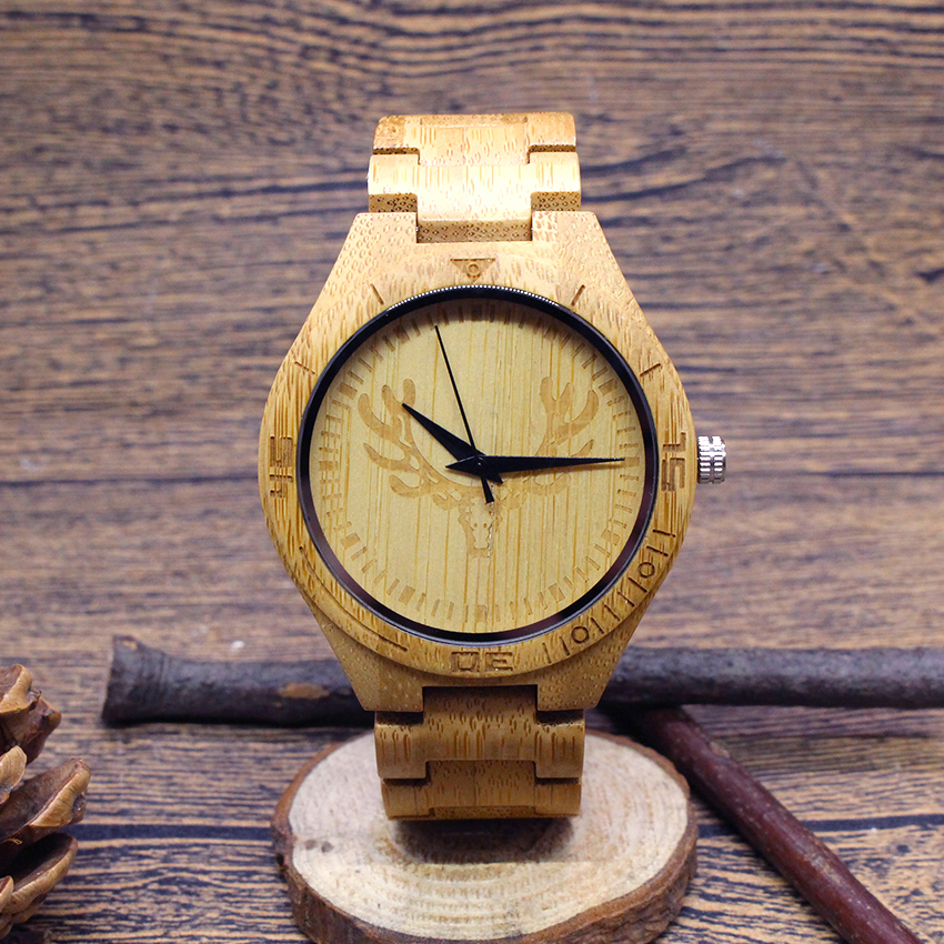 где купить 2017 zazac Elk Bamboo Wood Watch Men Women Wooden Strap male Quartz Wrist Watches Relogio Masculino relojes hombre Mujer по лучшей цене