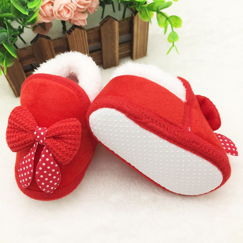 Cotton Winter Warm Baby Shoes Soft Bottom Non-slip Bow Toddler shoes First walkers
