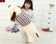 huge new creative plush lovely white dog pillow cute check cloth dog doll gift about 110cm