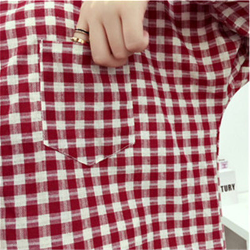 Brand Yan Qing Huan 2018 Spring Long Paragraph Large Size Plaid Shirt Fashion New Women's Casual Loose Long-sleeved Blouse Shirt 5