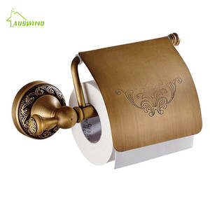 Toilet-Paper-Holders Bathroom-Accessories Gold Ti Brass Products Flower Carved Pvd Antique