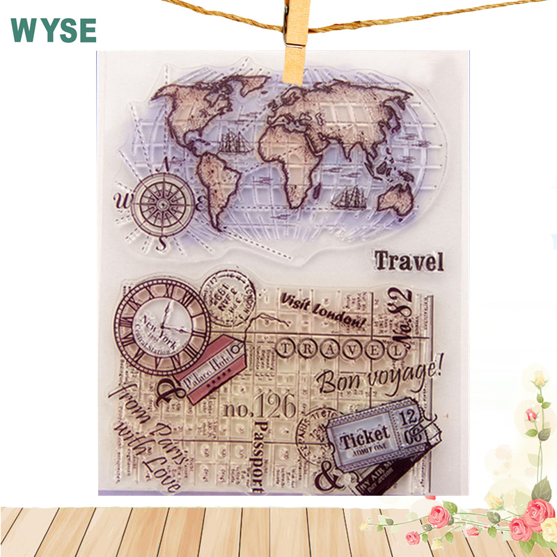 14 * 18cm Stämpel Transparent Stämpel Vintage World Travel Map Klara frimärken / tätning Craft stämpel för Scrapbooking album foto Dekoration