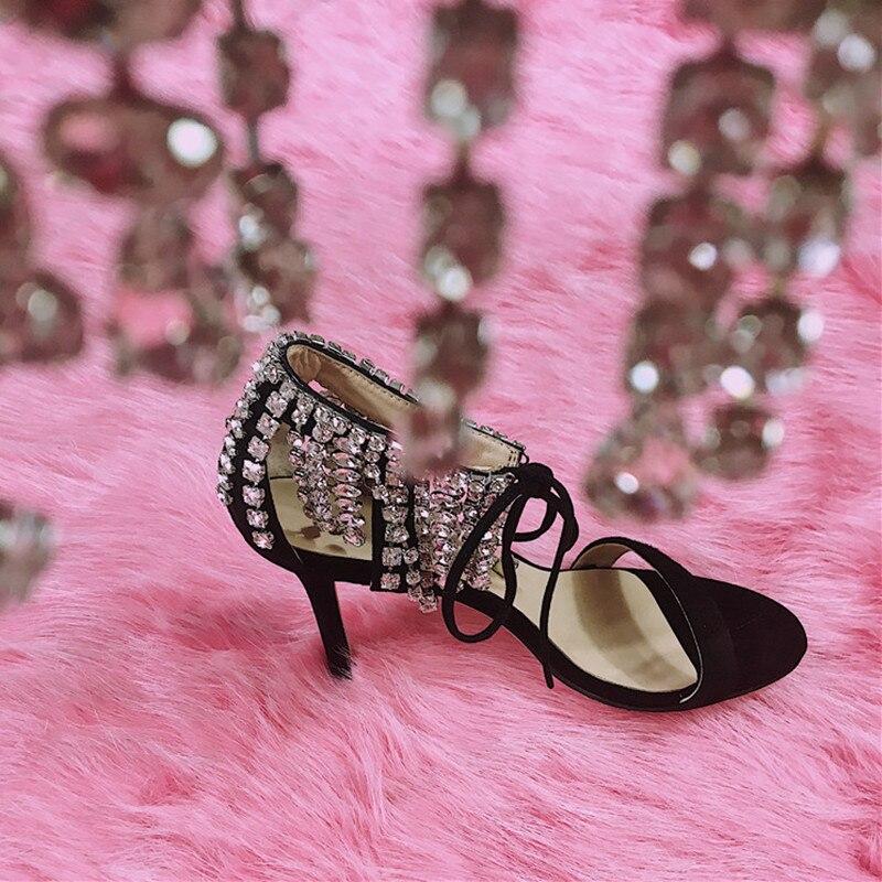 2018 Formato Sandali Sposa Strass 26 Lusso Strappy colore Gladiatore Rosa Scamosciata Donne Tacchi Ospite Scarpe Alti Da Della Pic Donna Cm Pelle Di As 42 Designer Delle BhQdtxCsr