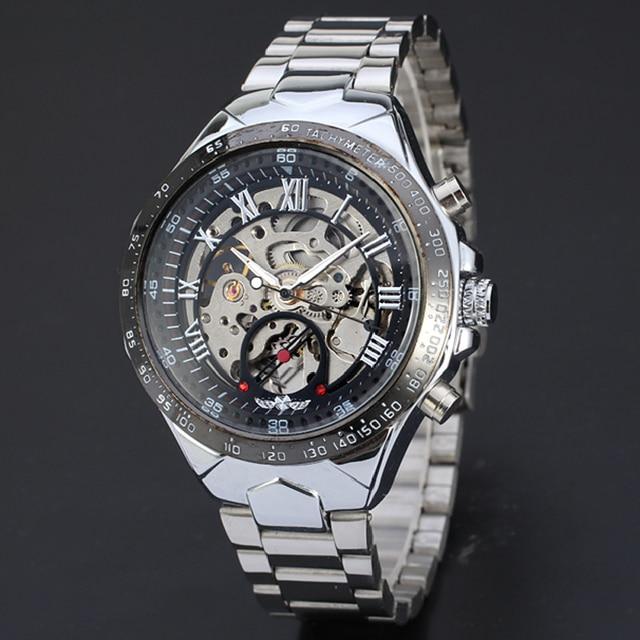 Привлекательных Российских Скелет Автоматические Часы Для Мужчин Серебро Нержавеющая Сталь Наручные Часы JY8