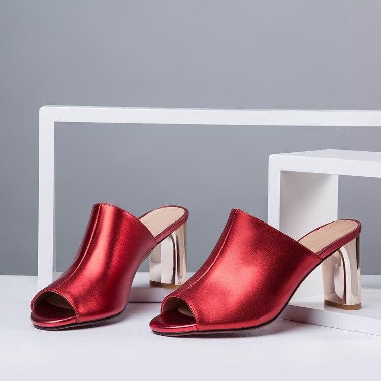 D'été Diapositives Sandales Pantoufle Chaussures Talons Véritable En Vert Femme Pantoufles Hauts rouge Femelle Femmes Bout Cuir Ouvert {zorssar} À dRqwZdP