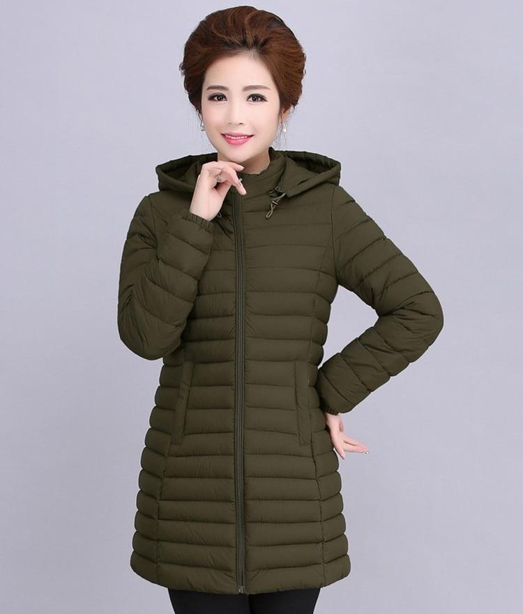 Среднего возраста Женская мода хлопчатобумажное платье для мамы загружен весной и зимняя одежда перья вниз длинные Хлопчатобумажная Куртка