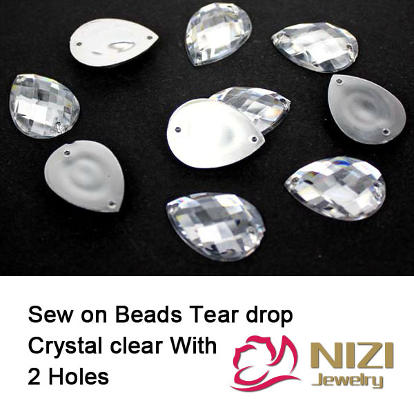 Taiwan Acrylic Beads 10X14mm 13x18mm 18x25mm Flatback Tear Drop Crystal Clear Beads Sew On Buttons For Wedding Dress DIY Beads