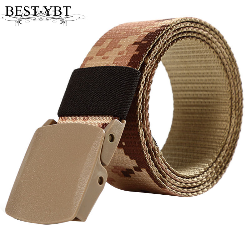 Best YBT Unisex Nylon Belt Plastic Smoother Buckle Belt Anti-allergic ACU Digital Camouflage Outdoor Sports Nylon Men Belt