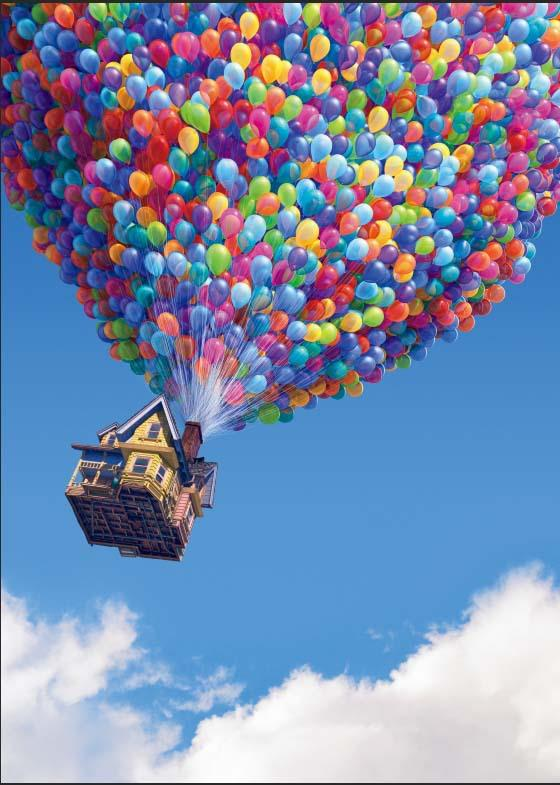 UP Flying Balloons House Travel Blue Sky Clouds backdrop Vinyl cloth High quality Computer print party background