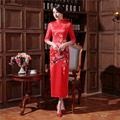 Free Shipping Ladies Long Cheongsam Qipao Traditional Chinese Dress  Half Sleeve Faux Silk Chi Pao for sale chinese Cheongsam