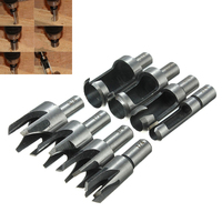 8pcs Carpentry Wood Plug Cutter Straight Tapered Claw Type Drill Bit Set