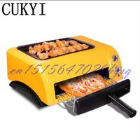 CUKYI 15L Mini Baking Oven Electric Oven for Baking pizza machine 1300W Orange Time control Two layers baker