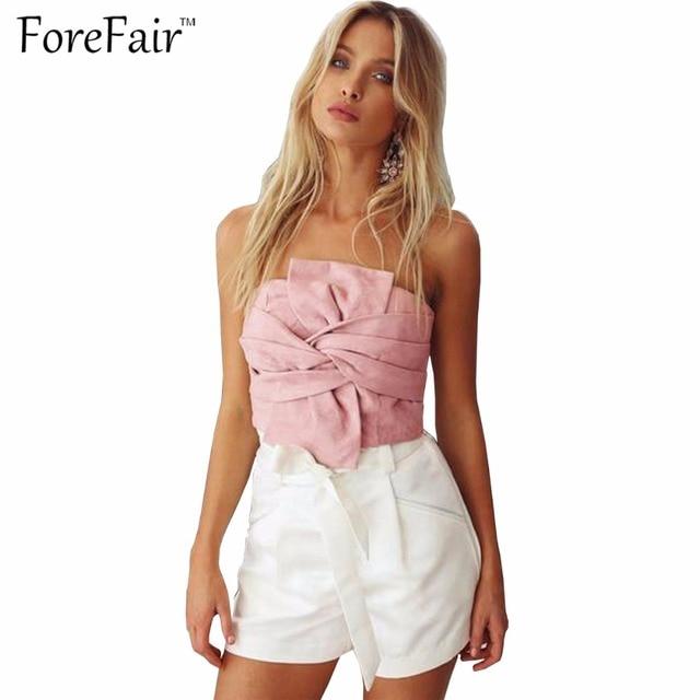 ForeFair Hot Strapless Big Bow Partido Clube Sexy Top Colheita de Volta Zipper Mulheres Rosa Cinza Blusa Cropped Tops Rua Olhar