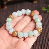 Natural lotus bead bracelet fashion A grade colorful jadeite adjustable bracelet