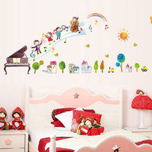 piano note music wall stickers waist lines wallpaper Baseboard kids baby room bedroom kindergarten school decals home decor 2pcs(China)