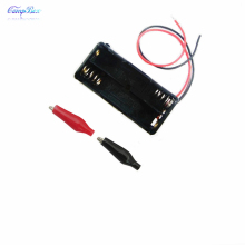 100Pcs 2xAAA Battery Case Holder Socket Wire Junction Boxes With 15cm Wires, Black+Red Crocodile Alligator Clip