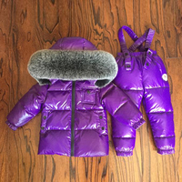 Children Waterproof & Windproof Clothes Winter Thicken Warm Sets Boys Hoodie Big Fur Snowsuit Kids Fashion Duck Down Outwear